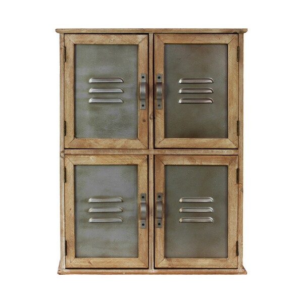 Natural Wood Cabinet With Vented Metal Doors Overstock Shopping Great Deals On Urban Trends