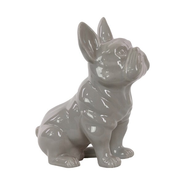 Grey Ceramic Sitting French Bulldog with Pricked Ears