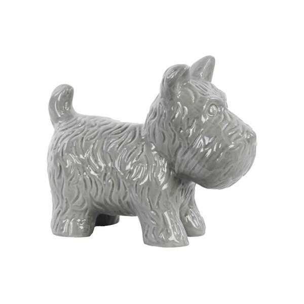 Gloss Grey Ceramic Standing Welsh Terrier Dog