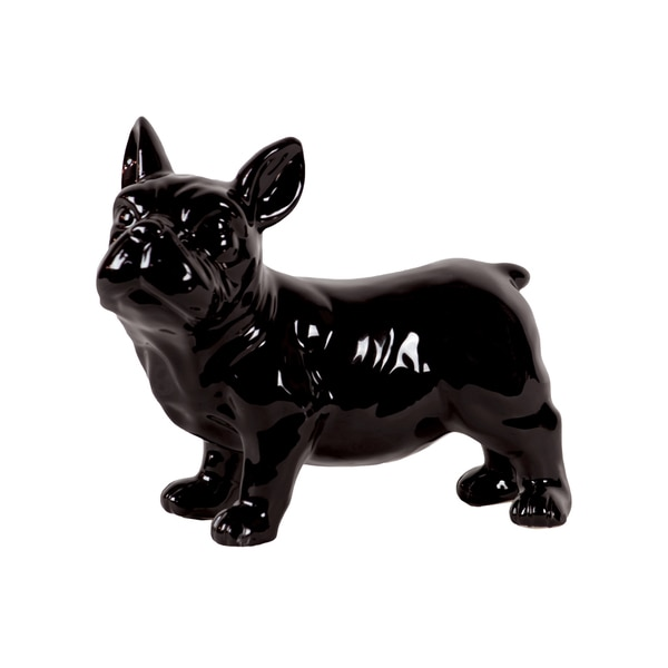 Gloss Black Ceramic Standing French Bulldog with Pricked Ears