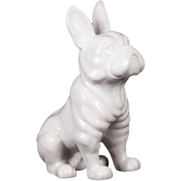 Gloss White Ceramic Sitting French Bulldog with Pricked Ears