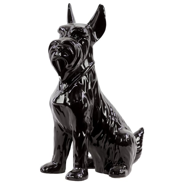 Gloss Black Ceramic Sitting Scottish Terrier Dog with Pricked Ears