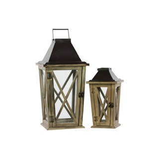 Natural Wood Finish Cast Iron Top Tapered Wooden Lantern with Metal Handle and Glass Sides (Set of 2)