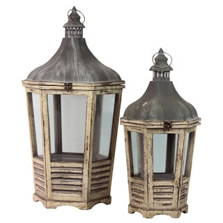 Distressed Wood Finish Cast Iron Top Tapered Wooden Lantern with Metal Handle and Glass Sides (Set of 2)