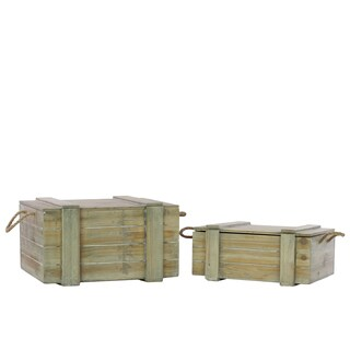 Weathered Wood Finish Wood Chest with Rope Handles (Set of 2)