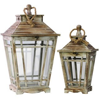 Grunge Texture Finish Wood Lantern with Rope Hanger and Glass Sides (Set of 2)