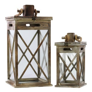 Natural Wood Finish Wooden Lanterns with Rope Hanger (Set of 2)