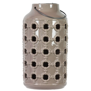 Gloss Tan Ceramic Lantern with Metal Handle and Porthole Design