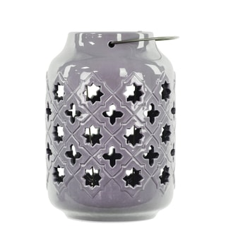Gloss Periwinkle Ceramic Lantern with Metal Handle Octagram and 4-point Star Design