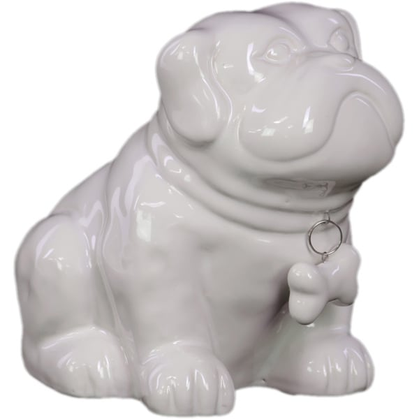 Gloss White Ceramic Sitting Bulldog Puppy Coin Bank with Bone Pendant on Dog Collar