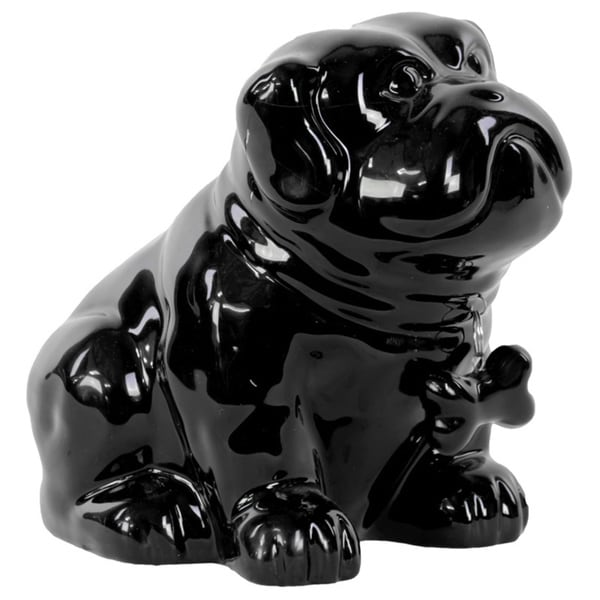 Gloss Black Ceramic Sitting Bulldog Puppy Coin Bank with Bone Pendant on Dog Collar