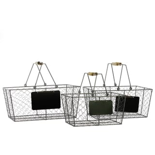 Silver Metal Wire Basket Rectangular with Mesh Sides Wood Handles and Black Name Plate (Set of 3)