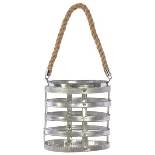 Polished Silver Metal Riveted Lantern with Rope Hanger Large