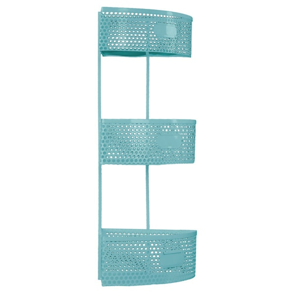 Light Blue Metal Corner Shelf with 3 Tiers Perforated Sides and 3 Card Holders Large