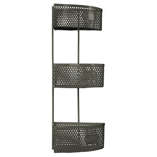 Dark Grey Metal Corner Shelf with 3 Tiers Perforated Sides and 3 Card Holders Large