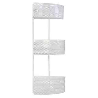 White Metal Corner Shelf with 3 Tiers Perforated Sides and 3 Card Holders Large
