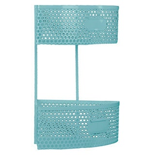 Light Blue Metal Corner Shelf with 2 Tiers Perforated Sides and 2 Card Holders Small