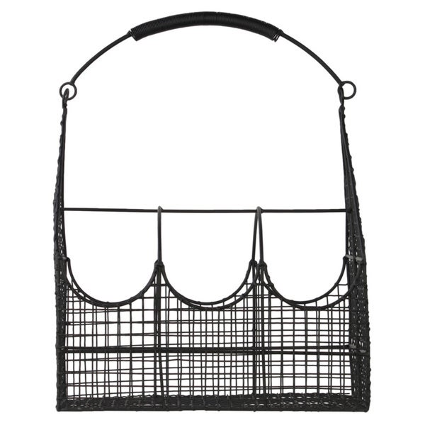 Black Metal Basket with 3 Slots Handle and Mesh Sides