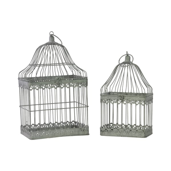 Antique Grey Antique Grey Metal Bird Cage with Ring Hanger (Set of 2)
