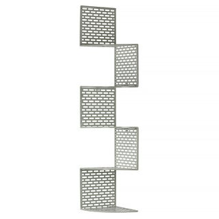 Light Grey Metal Corner Shelf with 5 Tiers and Perforated Surface and Backing Large