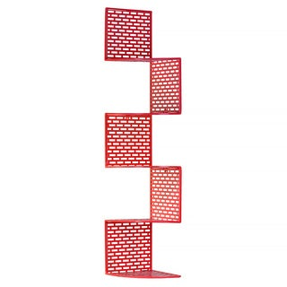 Red Metal Corner Shelf with 5 Tiers and Perforated Surface and Backing Large
