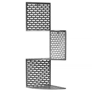 Dark Grey Metal Corner Shelf with 3 Tiers and Perforated Surface and Backing Small