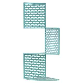 Light Blue Metal Corner Shelf with 3 Tiers and Perforated Surface and Backing Small
