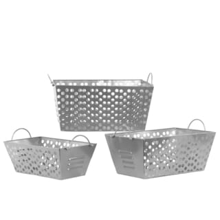 Silver Metal Basket with Metal Handles and Punched Hole Sides (Set of 3)
