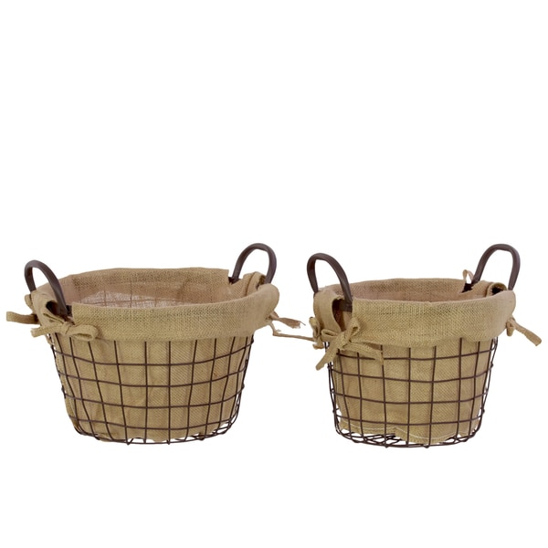Dark Brown Metal Wire Basket Lined with Fabric with Metal Handles (Set of 2)