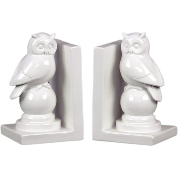 Gloss White Ceramic Owl on Stand Bookend (Set of 2)