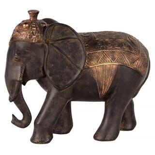 Espresso Brown Resin Walking Barded Persian War Elephant Small