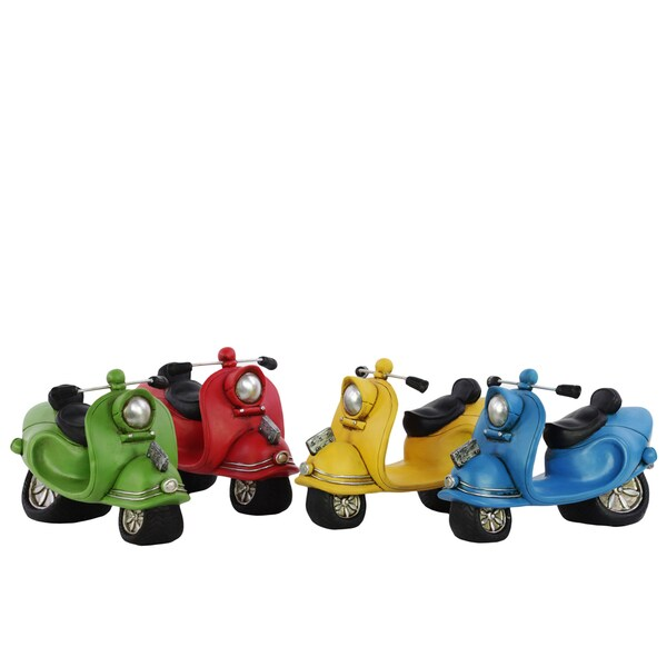 (Lime Green, Red, Yellow and Deep Sky Blue) Resin 1962 Vespa 150 Stutues Assortment of Four Assorted Color