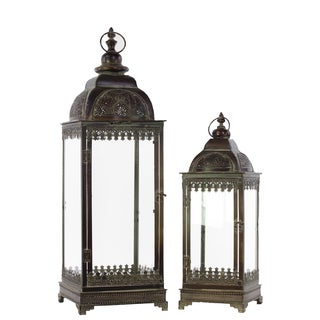 Espresso Brown Metal Lantern with Ring Hanger, Glass Sides and Square Base (Set of 2) Pierced