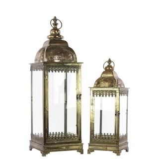 Pierced Bronze Metal Lantern with Ring Hanger (Set of 2)
