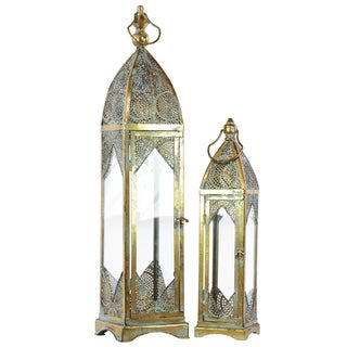 Pierced Gold Metal Lantern with Ring Hanger, Glass Sides and Square Base (Set of 2)
