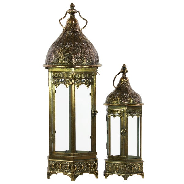 Pierced Bronze Metal Lantern with Ring Hanger, Glass Sides and Hexagonal Base (Set of 2)