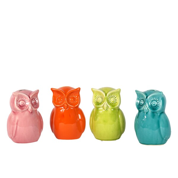 (Pink, Orange, Yellow Green and Turquoise) Ceramic Owl Bank (Set of 4) Assorted Color Gloss