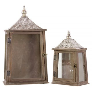Weathered Wood Finish Wood Rectangular Lantern with Pierced Silver Metal Top, Ring Hanger and Glass Windows (Set of 2)