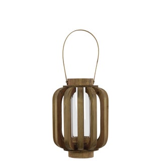 Natural Wood Finish Small Lantern with Rustic Chic Design, Bamboo Handle and Glass Hurricane Pillar Candle Small