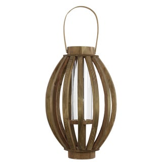 Natural Wood Finish Wood Lantern with Rustic Chic Design, Bamboo Handle and Glass Hurricane Pillar Candle Large