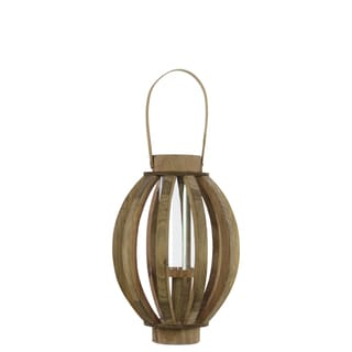 Natural Wood Finish Wood Lantern with Rustic Chic Design, Bamboo Handle and Glass Hurricane Pillar Candle Small