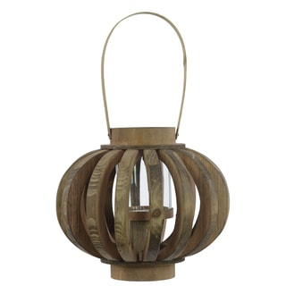 Natural Wood Lantern with Rustic Chic Design, Bamboo Handle and Glass Hurricane Pillar Candle Large Natural Wood Finish