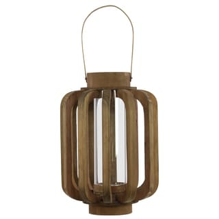 Natural Wood Finish Wood Lantern with Rustic Chic Design, Bamboo Handle and Glass Hurricane Pillar Candle