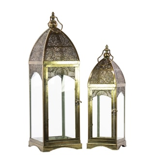 Pierced Bronze Metal Lantern with Ring Hanger, Glass Sides and Square Base (Set of 2)