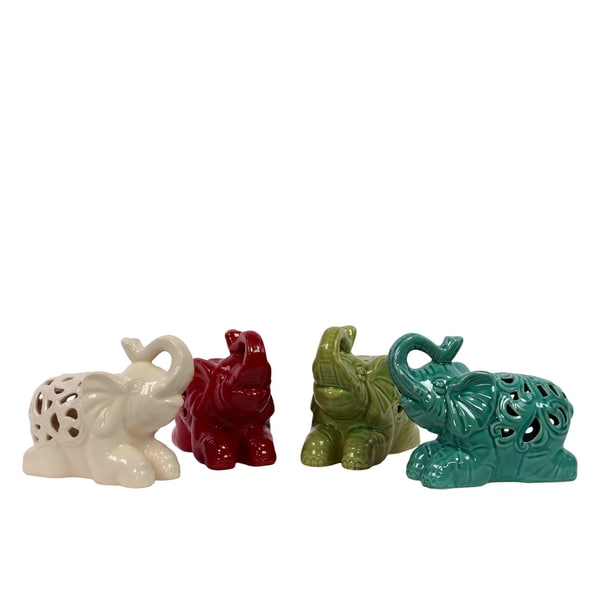 Assorted Color (White, Red, Yellow Green and Turquoise) Ceramic Elephants