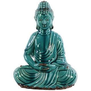 Gloss Turquoise Ceramic Meditating Buddha in Dhyana Mudra