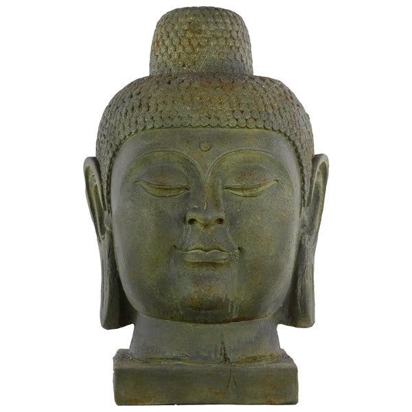 Large Dark Olive Green Fiberstone Buddha Head with Rounded Ushnisha