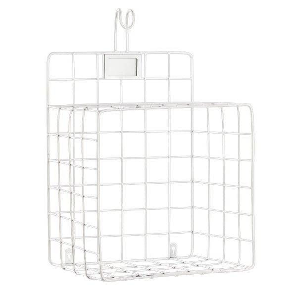 White Metal Wall Shelf with Mesh Sides, Hook and Card Holder