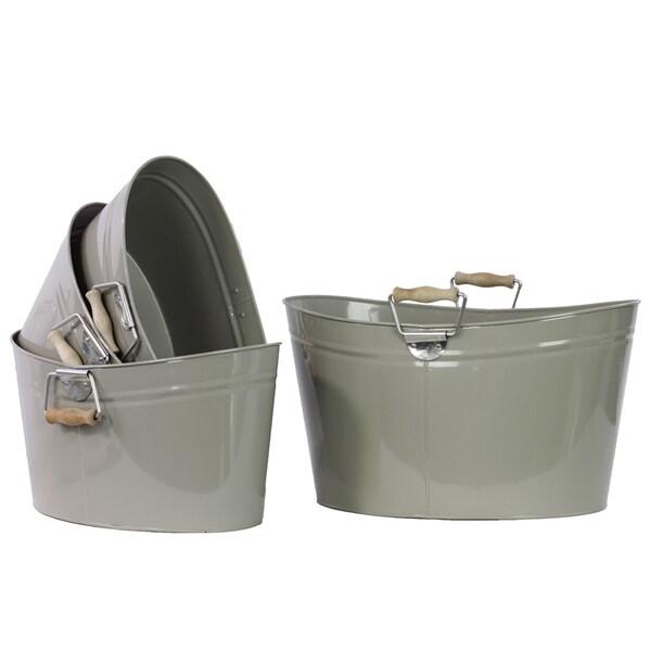 Grey Metal Oval Bucket With Wood Handle (Set of 4)