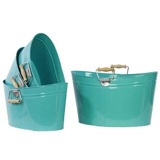 Blue Metal Oval Bucket With Wood Handle (Set of 4)